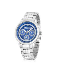 Just Cavalli Blue Just Iron Silver Stainless Steel Men'S Watch for men