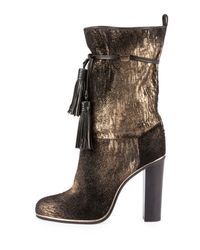 Lanvin | Brown Metallic Suede Tassel Mid-calf Boot | Lyst