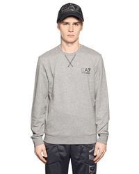 EA7 | Gray Logo Printed Cotton Sweatshirt for Men | Lyst