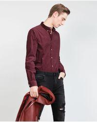 Zara | Purple Printed Needlecord Shirt for Men | Lyst