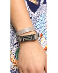 Tory Burch - For Fitbit Fret Double Wrap Bracelet - French Gray/Tory Silver - Lyst