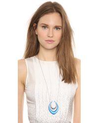 Alexis Bittar Blue Lucite Pyramid Pendant Necklace