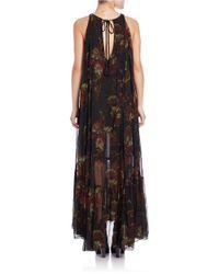 Free People   Black Printed Maxi Dress   Lyst
