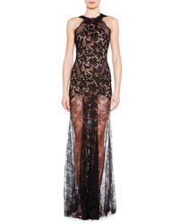 Emilio Pucci Black Lace Evening Gown With Sheer Skirt