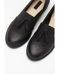 Forever 21 - Black Faux Leather Tasseled Loafers - Lyst