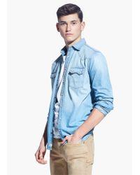 Mango Blue Slim-Fit Light Wash Denim Shirt for men