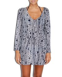 MILLY | Blue Cabana Chain Print Buzioa V-neck Tunic | Lyst