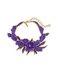 Oscar de la Renta - Purple Orchid Enamel Necklace - Lyst