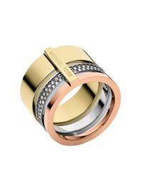 Michael Kors | Metallic Tri-Tone And Glitz Barrel Ring | Lyst