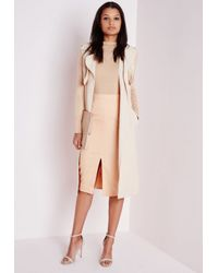 Missguided | Natural Front Split Bodycon Midi Skirt Camel | Lyst