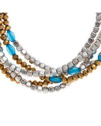 John Lewis Metallic Multi Row Turquoise Cord Silver Nugget Beads Bracelet