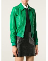 Saint Laurent Green Cropped Leather Western Jacket