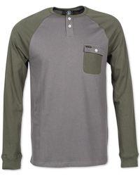 Volcom | Gray Hardin Slim-fit Long-sleeve Henley for Men | Lyst