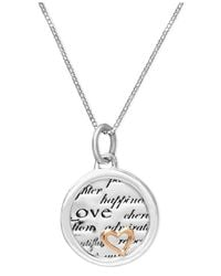 Macy's - Metallic Inspirational Sterling Silver And 14K Gold Over Sterling Silver Necklace, Inspirational Heart Drop Pendant - Lyst