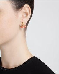 Yvonne Léon - Pink 18k Yellow Gold And Coral Lobe Earring - Lyst