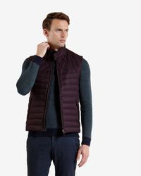 Ted Baker | Brown Herringbone Design Quilted Gilet for Men | Lyst