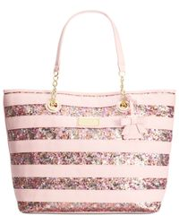 Betsey Johnson | Pink Macy's Exclusive Stripe Sequin Tote | Lyst