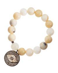 Bavna | Natural Opal Bead Evil Eye Bracelet | Lyst