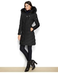 Calvin Klein Black Faux-fur-trimmed Hooded Down Coat