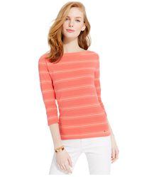 Tommy Hilfiger | Orange Favorite Flag Striped Boat-neck Top | Lyst