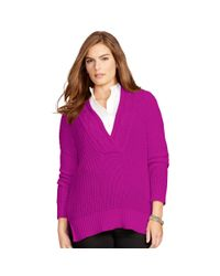 Ralph Lauren | Purple Cotton Split-neck Sweater | Lyst