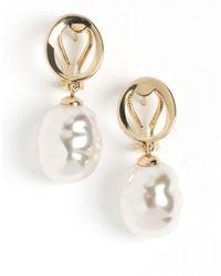 Majorica - White Baroque Pearl Drop Earrings - Lyst