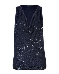 Donna Karan | Blue Sequined Cashmere Cowl Neck Top | Lyst
