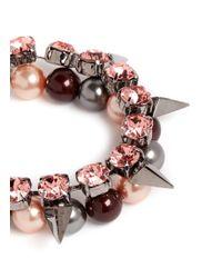 Joomi Lim | Pink 'vicious Love' Crystal Pearl Spike Bracelet | Lyst