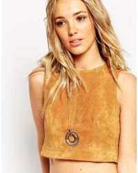 ASOS | Metallic 70s Hammered & Smooth Circles Pendant Necklace | Lyst