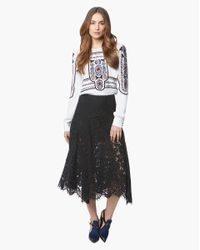 Veronica Beard Black Warren Lace A-line Skirt