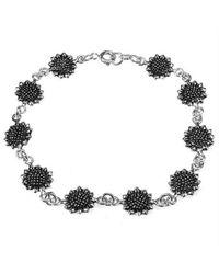 Aeravida | Black Pretty Sunflower/flower Link .925 Silver Bracelet | Lyst