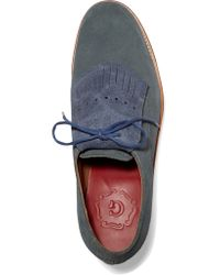 Foot The Coacher Blue Carrie Suede Lace-up Loafers