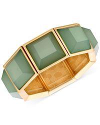 T Tahari | Gold-tone Green Stone Stretch Bracelet | Lyst