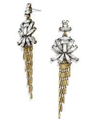 BaubleBar - Metallic 'gatsby' Fringe Drop Earrings - Clear/ Antique Gold - Lyst