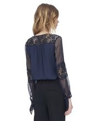 Rebecca Taylor | Blue Silk & Lace Blouse | Lyst