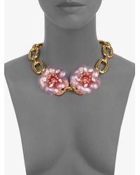 Miu Miu Metallic Flower Chain Link Necklace