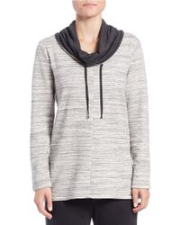 Lord & Taylor Black Drawstring Cowl-neck Pullover