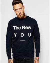 WOOD WOOD - Blue Sweatshirt With The New You Print for Men - Lyst