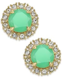 kate spade new york | Gold-Tone Bud Green Stone And Clear Crystal Button Earrings | Lyst