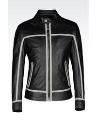 Armani Jeans | Black Blouson In Perforated Effect Lambskin for Men | Lyst
