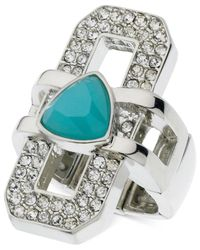 Guess | Metallic Silver-tone Crystal And Stone Interlock Stretch Ring | Lyst