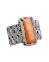 Roberto Coin Woven Ring With Orange Mother Of Pearl