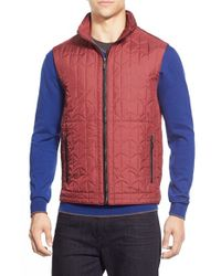 Bugatchi | Red Quilted Zip Front Vest for Men | Lyst