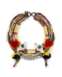 Venna Multicolor Doll Eye Pompom Crystal Spike Threaded Necklace