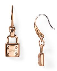 Michael Kors | Metallic Padlock Drop Earrings | Lyst