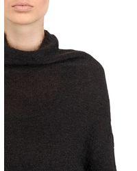 Rick Owens - Black High Neck Mohair Silk Blend Sweater - Lyst