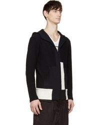 Yohji Yamamoto - Black And White Colorblocked Terrycloth Hoodie for Men - Lyst