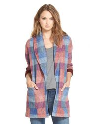 Hinge Blue Plaid Knit Jacket