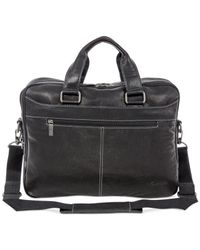"Kenneth Cole - Black ""take The Op-port-unity"" Crumpled Leather Double Gusset Top Zip Laptop Brief for Men - Lyst"
