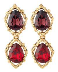 Oscar de la Renta | Metallic Doubledrop Clip Earrings | Lyst